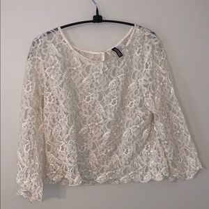 H&M 3/4 sleeve cream lace blouse